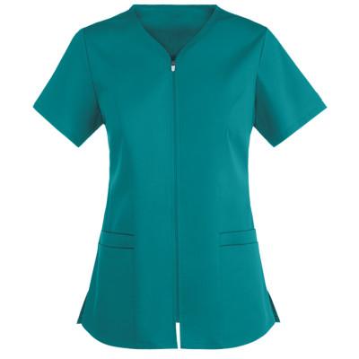 Quality Scrub Tops For Women | 4-Pocket Zipper Scrub Tops Cotton Elastic | Wholesale Scrub Top With Zipper Front