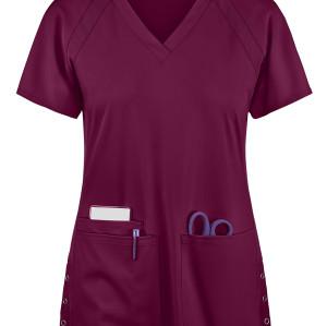 Fashion Scrub Tops Elastic | 3-Pocket Raglan Sleeve V-Neck Scrub Tops Cotton | Medical Scrub Tops Wholesale