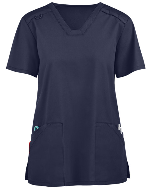 Women's Scrub Tops Elastic   4-Pocket V-Neck Mesh Scrub Tops Functional   Wholesale Medical Scrub Tops