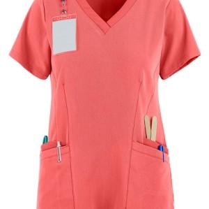 Women's Scrub Tops For Sale | Solid Color 4-Pocket V-Neck Scrub Tops Fashion | Custom Quality Scrub Tops Elastic