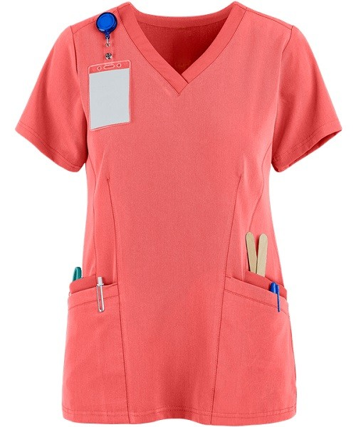Women's Scrub Tops For Sale   Solid Color 4-Pocket V-Neck Scrub Tops Fashion   Custom Quality Scrub Tops Elastic