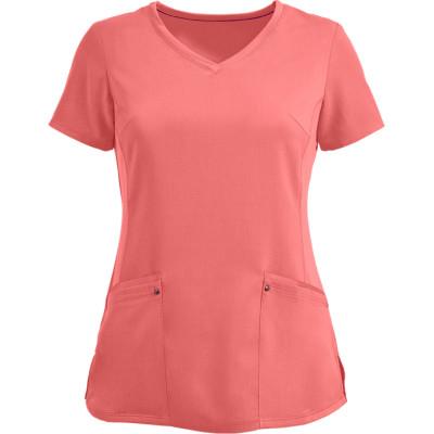 Quality Scrub Tops Ladies   2-Pocket Princess Seam Stretch V-Neck Scrub Tops   Wholesale Discount Scrub Tops