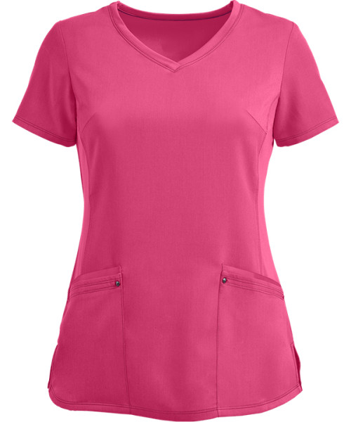 Quality Scrub Tops Ladies | 2-Pocket Princess Seam Stretch V-Neck Scrub Tops | Wholesale Discount Scrub Tops