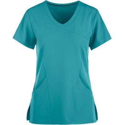 Women's Scrub Tops Cotton   3-Pocket Mock Wrap V-neck 4 Way Stretch Scrub Tops   Wholesale Medical Scrub Tops