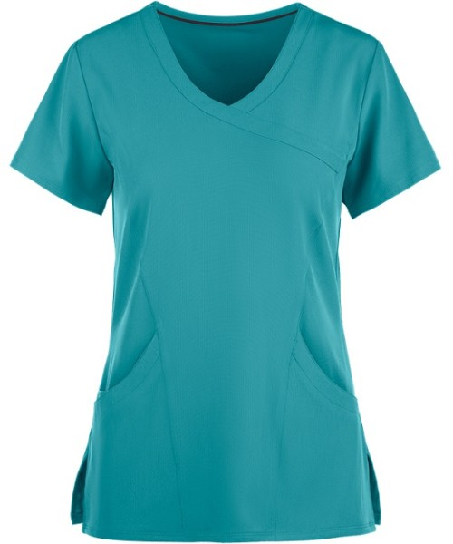 Women's Scrub Tops Cotton | 3-Pocket Mock Wrap V-neck 4 Way Stretch Scrub Tops | Wholesale Medical Scrub Tops