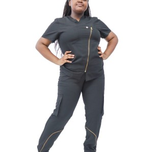 Women's Scrub Sets Affordable | Stretch V-Neck Zip up Short Sleeve Scrub Sets Hospital | Wholesale Scrubs Sets Vendor