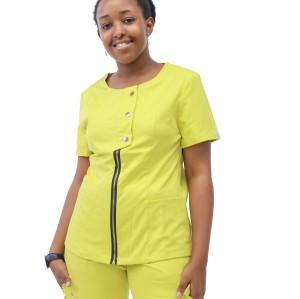 女性医用磨砂套装|短袖时尚拉链磨砂套装搭配慢跑裤 |批发磨砂套装