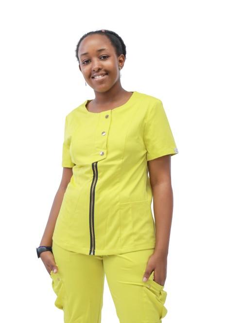 女性医用磨砂套装 短袖时尚拉链磨砂套装搭配慢跑裤  批发磨砂套装