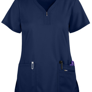 Scrub Tops For Women | 3-Pocket Zip Front 4 Way Stretch Scrub Tops | Wholesale Scrub Tops Affordable