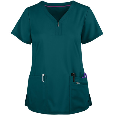 Scrub Tops For Women   3-Pocket Zip Front 4 Way Stretch Scrub Tops   Wholesale Scrub Tops Affordable