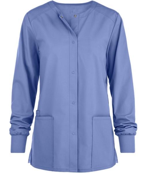 Women's Scrub Jackets With Pockets   3-Pocket Snap Front Scrub Warm Up Jackets   Quality Scrub Jackets Custom