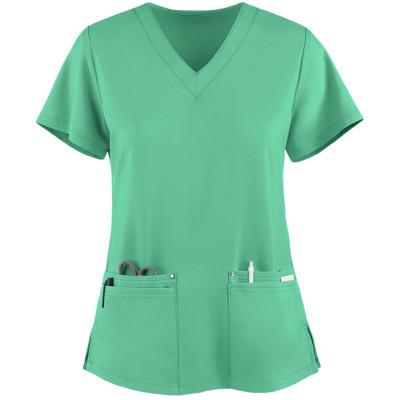 Women's Scrub Tops Stylish   4-Pocket V-Neck 4 Way Stretch Scrub Tops   Wholesale Scrub Tops Manufacturer
