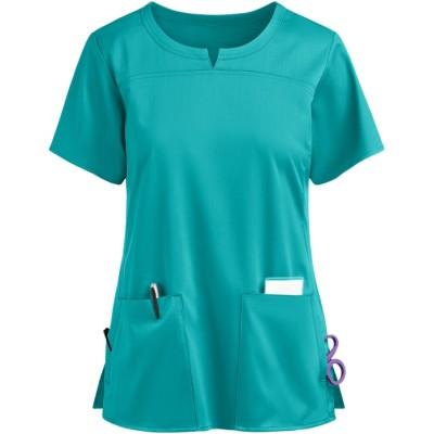 Fashion Scrub Tops Ladies   4-Pocket Notch Neck Quality Scrub Tops   Wholesale Scrub Tops Functional