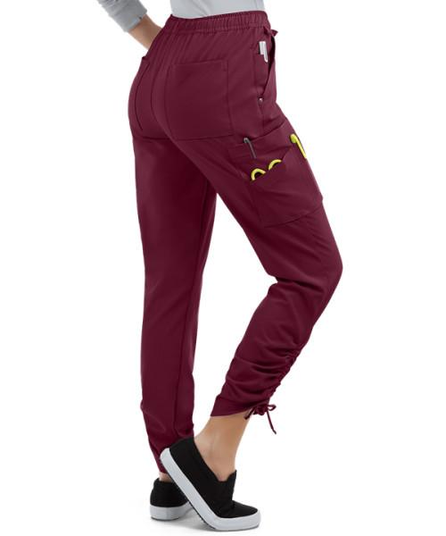 Women's Scrub Pants Joggers   9-Pocket Ruched Leg Drawstring Elastic Scrub Jogger Pants   Wholesale Scrub Pants Stylish