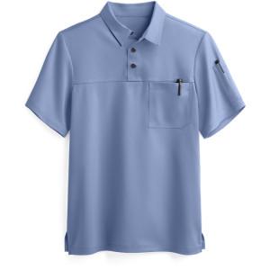 Men's Scrub Tops Breathable | 2-Pocket Short Sleeve Polo Scrub Tops Quality | Wholesale Scrub Tops Custom Logo