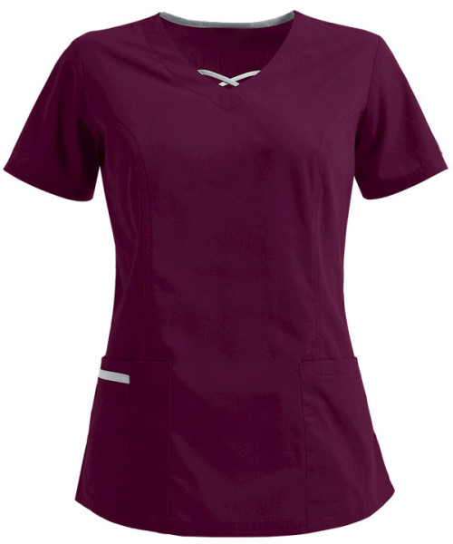 Stylish Scrub Tops For Women | 3-Pocket Crisscross Contrast Color V-Neck Scrub Tops | Wholesale Scrub Tops Manufacturer