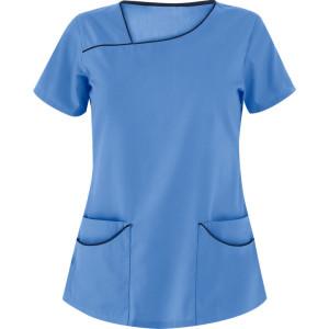 Women's Modern Scrub Tops | 4-Pocket Asymmetrical Neck Solid Color Scrub Tops | Wholesale Scrub Tops Bulk Supplier