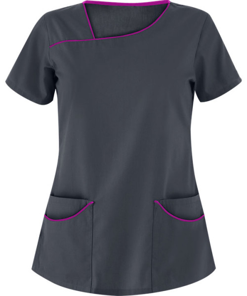 Women's Modern Scrub Tops   4-Pocket Asymmetrical Neck Solid Color Scrub Tops   Wholesale Scrub Tops Bulk Supplier