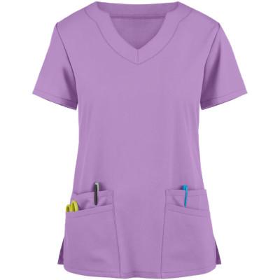 Stylish Scrub Tops For Women | 4-Pocket Scallop Neck Solid Color Scrub Tops Fashion | Wholesale Scrub Tops Affordable