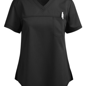 Modern Scrub Tops For Women | 1-Pocket V-Neck Solid Color Scrub Tops Stretch | Wholesale Scrub Tops Manufacturer