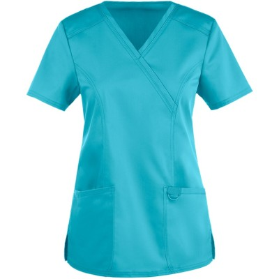 Women's Scrub Tops Custom With Logo | 2-Pocket Mock Wrap Scrub Tops | Custom Embroidery Scrubs Affordable