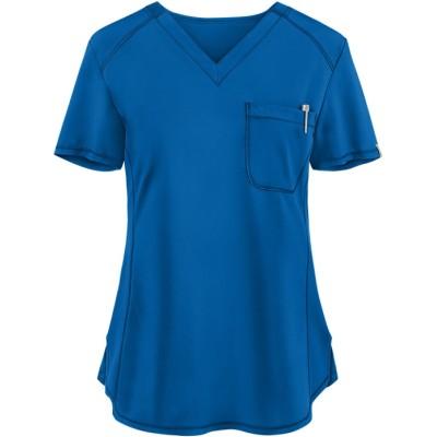 Women's Scrub Tops Modern   Solid Color 1-Pocket V-Neck 4 Way Stretch Scrub Tops   Wholesale Scrub tops Supplier