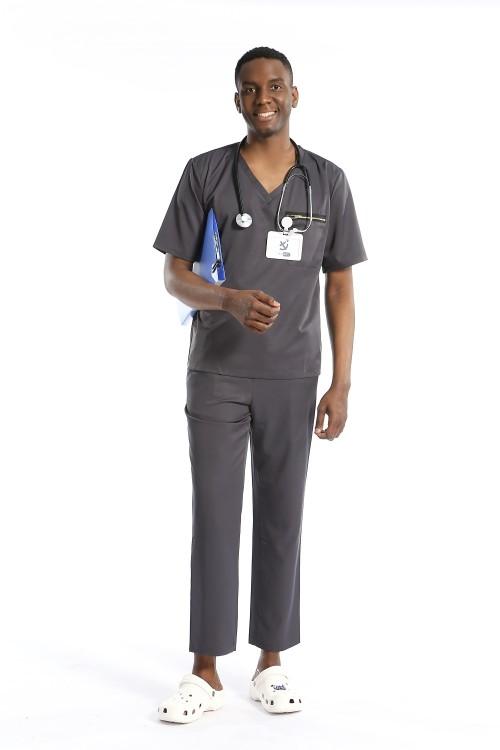 Gray Men's Scrub Uniforms | V-Neck Breast Pocket Scrub Hospital Uniform | 4 Way Stretch Scrub Uniform Sets Wholesale