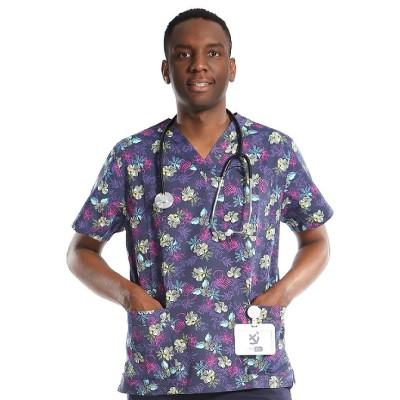 Mens Printed Scrub Uniforms | V-neck Short Sleeve Printed Scrub Tops | Scrub Uniforms Manufacturer In China