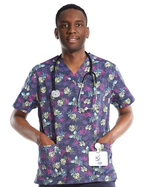Mens Printed Scrub Uniforms   V-neck Short Sleeve Printed Scrub Tops   Scrub Uniforms Manufacturer In China