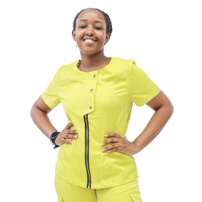 Medical Scrub Sets For Women | Short Sleeve Stylish Zipper Scrub Sets With Jogger Pants | Wholesale Scrub Sets In Bulk