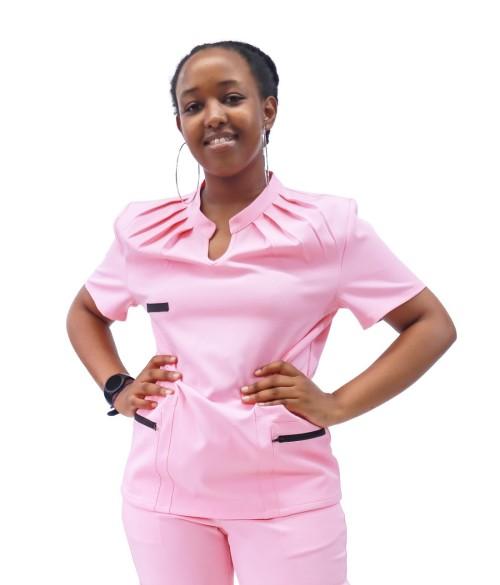 Women's Medical Scrub Uniforms | Pleated Collar&Collage Pockets Fashion Scrubs | Wholesale Scrub Uniforms Online