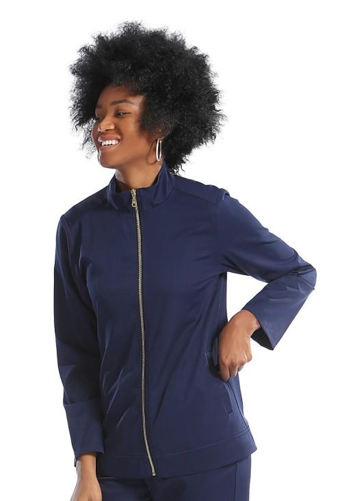 Women's Scrub Sets Navy Blue   Zip Front Warm-up Nurse Scrub Jacket&Stretch Pants   Wholesale Quality Scrub Uniforms Vendors