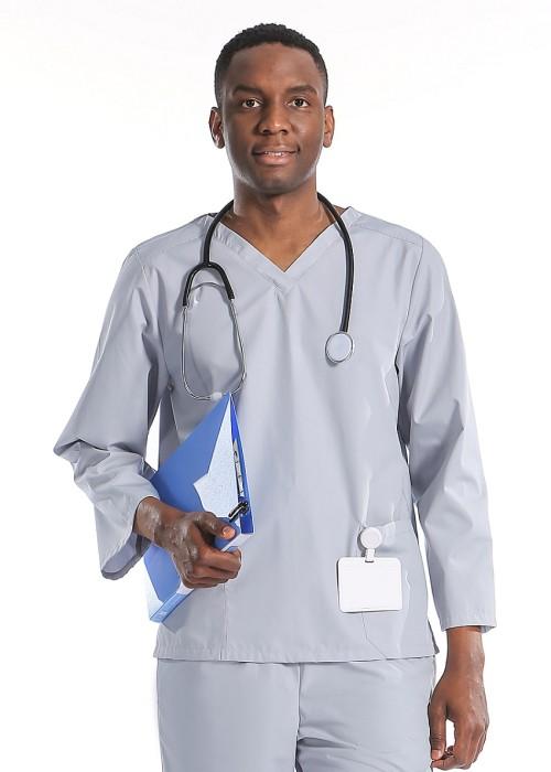 Gray Scrub Uniforms For Men | V-neck Long Sleeve Scrub Hospital Uniforms | High Quality Scrub Uniforms Wholesale
