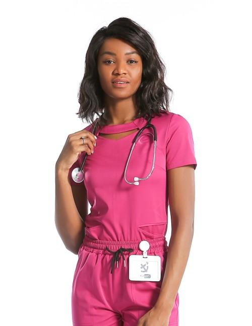 Cheap Scrub Uniforms For Nurses | Slim Hole-neck Scrub Tops | Slit Hem Scrub Pants For Women | Custom Fashion Scrub Uniforms