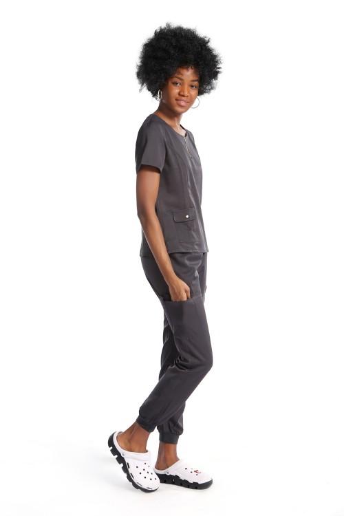 Women's Scrub Uniforms Sets | V-neck Zip Half Placket Scrub Uniforms For Nurses | Custom Scrub Nurse Uniforms Wholesale