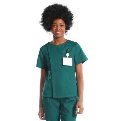 Green Scrub Uniforms   Invisibly Zip Up Scrub Uniforms   Polyester Jogger Pants   Custom High Quality Uniforms Wholesale