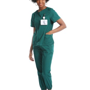 Green Scrub Uniforms | Invisibly Zip Up Scrub Uniforms | Polyester Jogger Pants | Custom High Quality Uniforms Wholesale