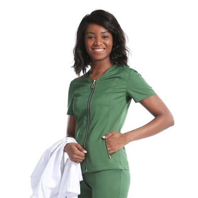 Women's Medical Uniforms Scrubs | O-ring Short Sleeve Zip-up Scrub Uniforms Tops | Custom Scrub Uniforms Affordable