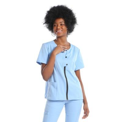 Women's Scrub Hospital Uniforms | Round Neck Zip-up Solid Scrub Uniforms Sets | Wholesale Medical Scrubs