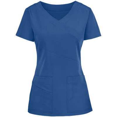 Quality Scrub Tops For Women | 3-Pocket 4 Way Stretch Mock Wrap Scrub Tops | Wholesale scrub tops manufacturer