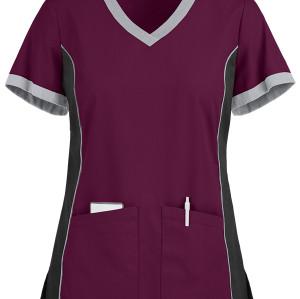 Women's Scrub Tops | 4-Pocket Color Block V-Neck Scrub Tops Stretch | Wholesale Scrub Tops With Logo Affordable