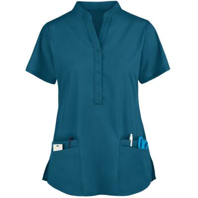 Quality Scrub Tops For Women | 4-Pocket Mandarin Collar Scrub Tops 4 Way Stretch | Wholesale Scrub Tops With Logo Affordable