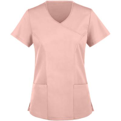 Women's Scrub Tops Stretch   2-Pocket V-Neck Mock Wrap Scrub Tops   Wholesale Scrub Tops With Logo Custom