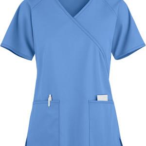 Scrub Tops For Women | 2-Pocket 4 Way Stretch Mock Wrap Scrub Tops | Wholesale Womens Scrub Tops Quality
