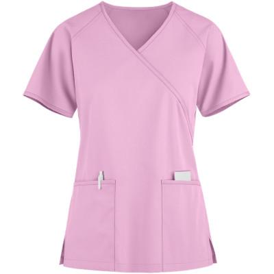 Scrub Tops For Women   2-Pocket 4 Way Stretch Mock Wrap Scrub Tops   Wholesale Womens Scrub Tops Quality