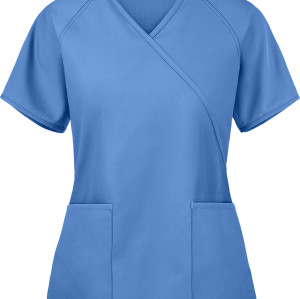 Women's Scrub Tops | 2-Pocket Solid Color Mock Wrap Scrub Tops Cotton | Wholesale Scrub Tops Stretch Affordable
