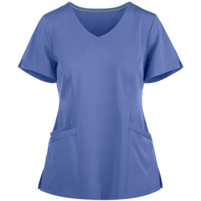 Women's Scrub Tops Stylish   3-Pocket Mock Wrap Scrub Tops Stretch   Custom Scrub Tops With Logo Wholesale