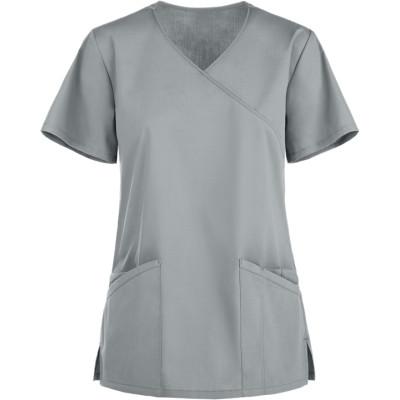 Scrub Tops For Women | Solid Stylish 3-Pocket Mock Wrap Scrub Tops | Medical Scrub Tops Wholesale Manufacturer