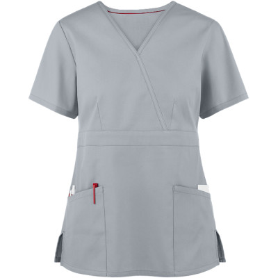 Ladies Solid Stylish Scrub Tops | 2-Pocket Classic Fit Mock Wrap Scrub Tops Stretch | Scrub Tops With Logo Wholesale Supplier