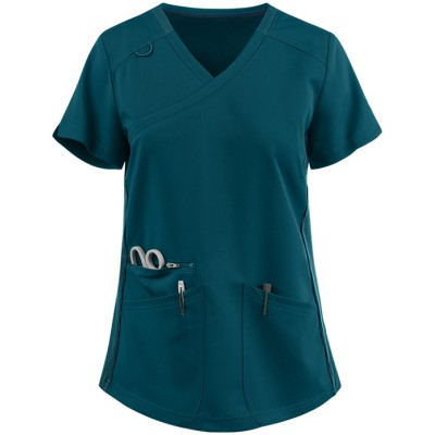 Solid Scrub Tops For Women   3-Pocket Rib Knit Side Panel Mock Wrap Scrub Tops Stretch   Medical scrub tops wholesale Supplier
